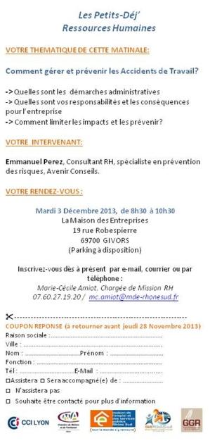 Petits Dej'RH : 3 décembre 2013 -  Les Accidents de Travail : Inscrivez-vous !