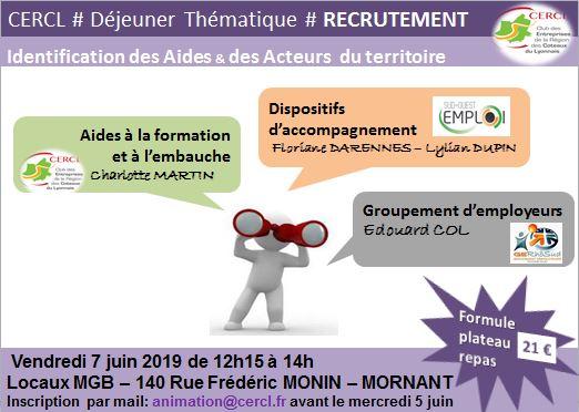 7 juin : Déjeuner dirigeants - informez-vous sur les solutions d'appui à vos recrutements !