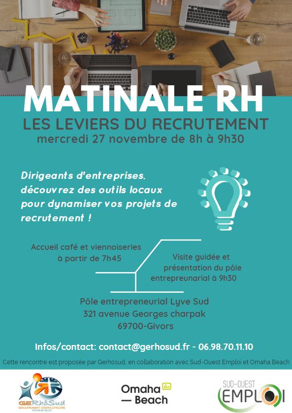 Save the date : 27 novembre - Matinale RH : Découvrez des leviers pour dynamiser vos recrutements