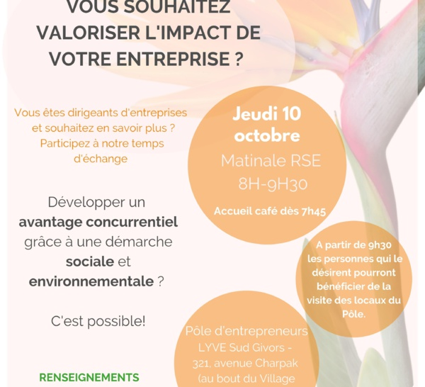 Save the date : 10 octobre - Matinale RH : Boostez votre RSE !